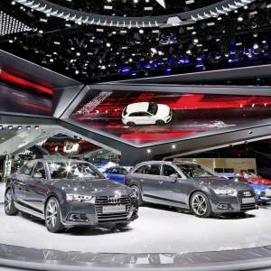 Audi booth at the Frankfurt International Motor Show 2015